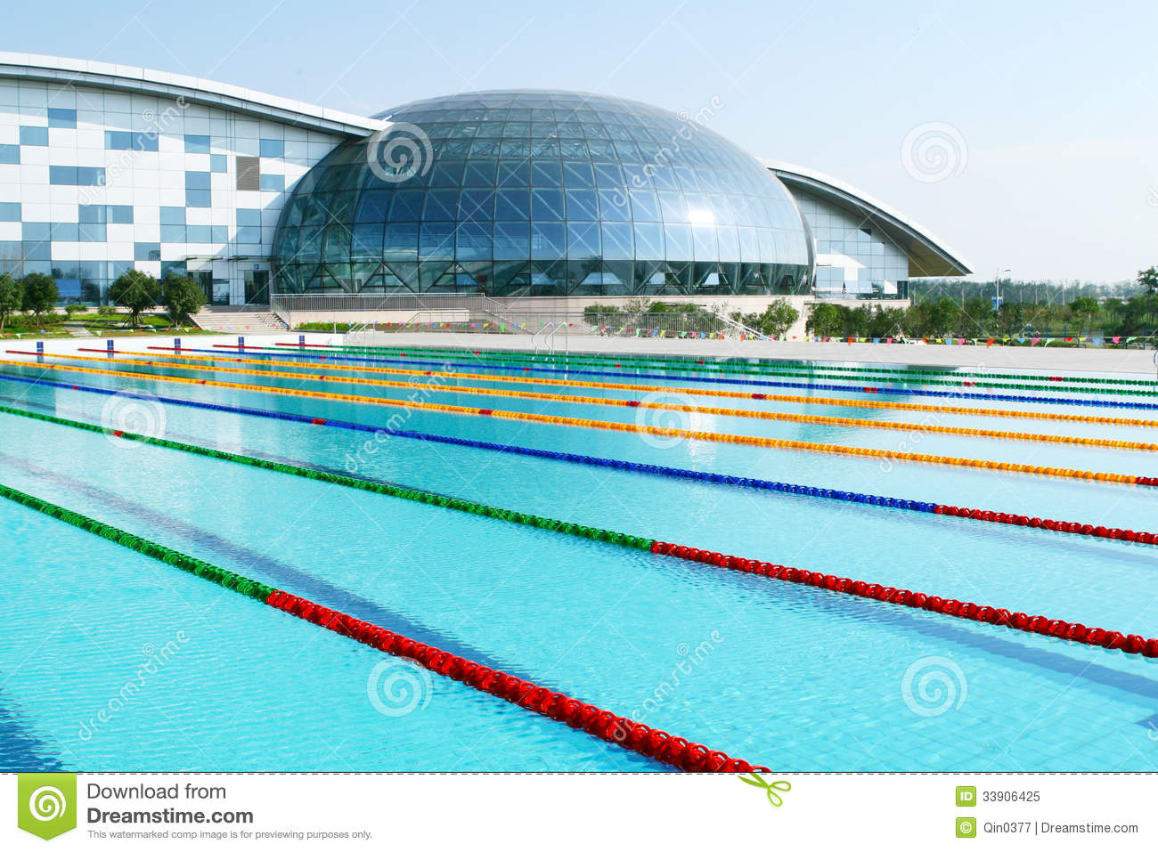 Outdoor Swimming Pool Stock Image Image Of Laps Multiplayer 33906425