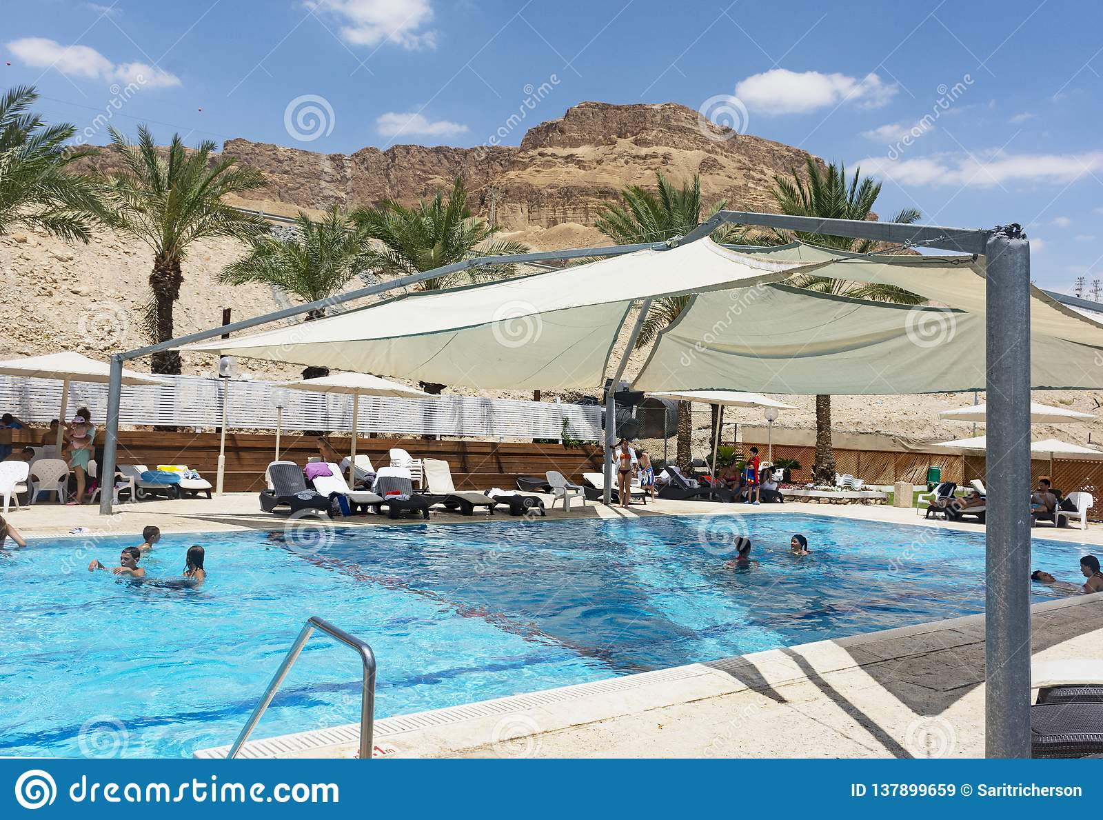 Outdoor Swimming Pool at a Dead Sea Resort Hotel