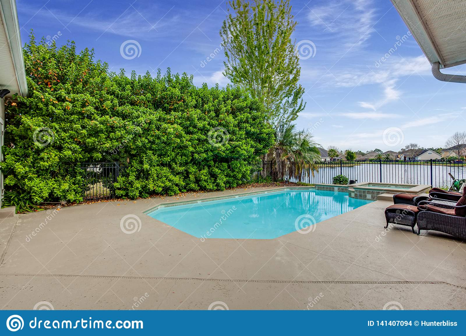 Outdoor Swimming Pool In Ground Concrete Back Yard ...