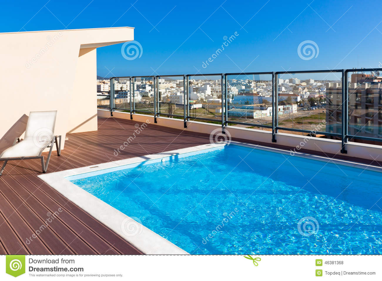 Pool On Roof Detail : Outdoor swimming pool at the house roof stock photo