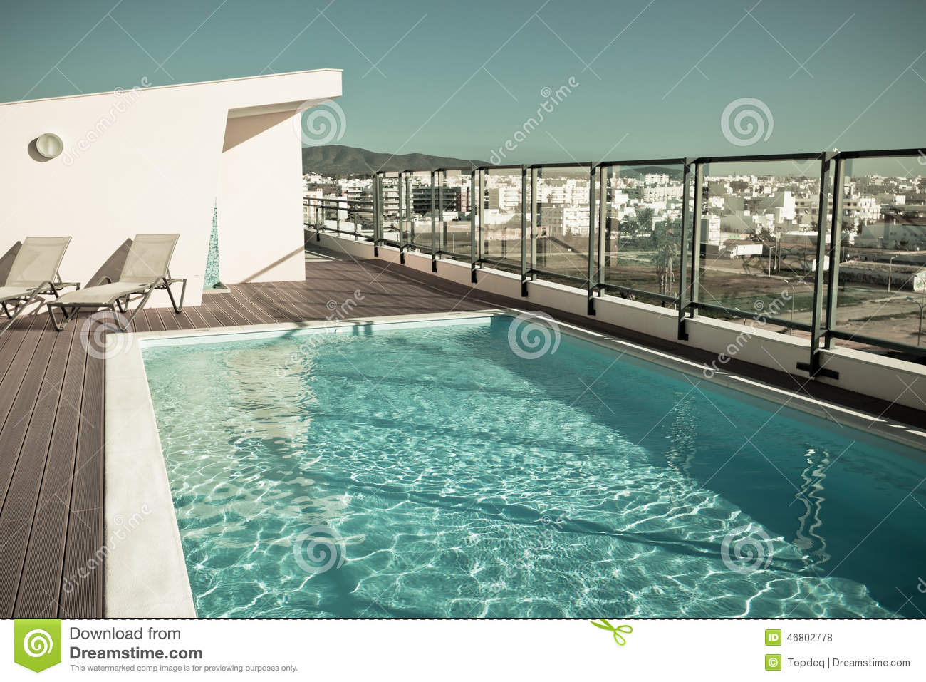 Outdoor swimming pool at a house roof stock photo image - How big is an average swimming pool ...
