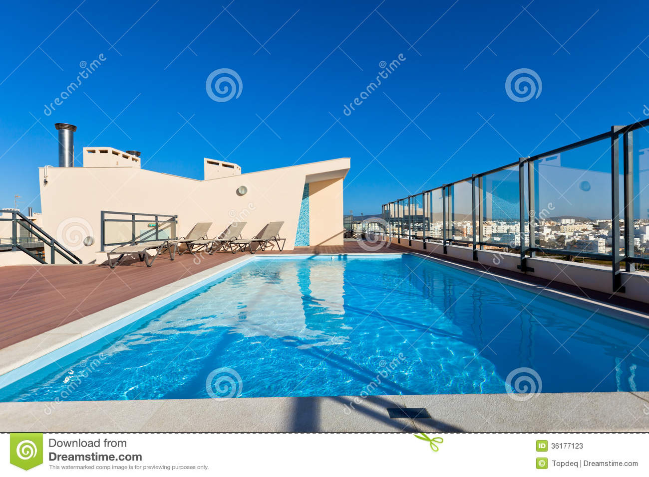 Pool On Roof Detail : Outdoor swimming pool at the house roof stock image