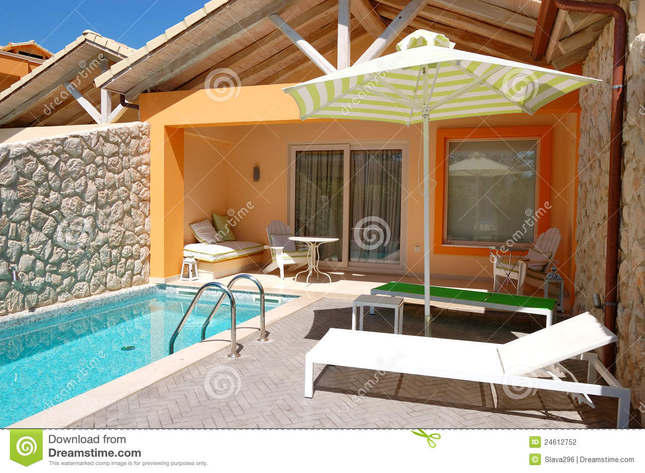 Outdoor Swimming Pool At Luxury Villa Stock Image