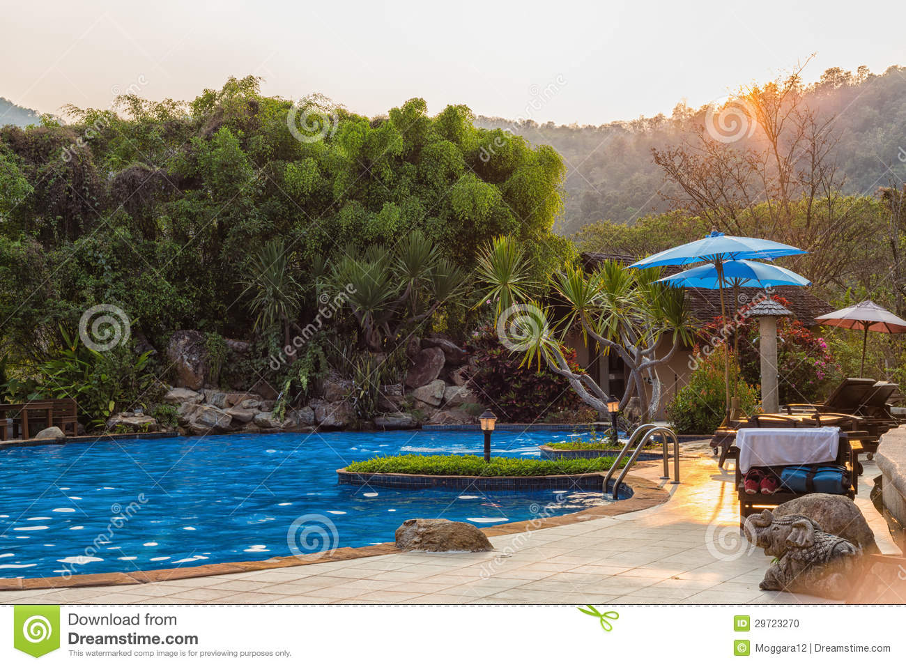 Outdoor Swimming Pool In Sunset Time Stock Photo Image 29723270