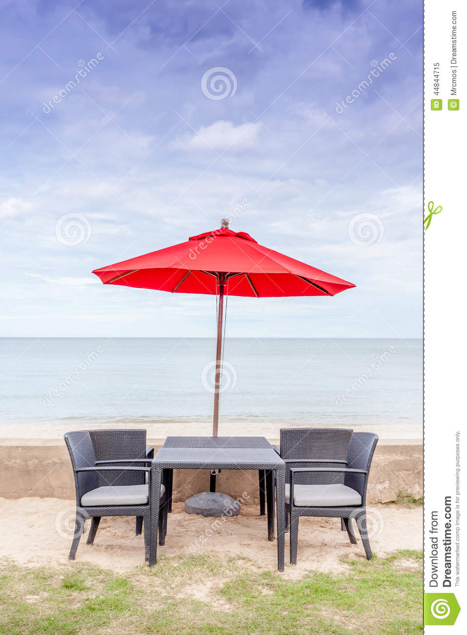 Table With Chairs And Umbrella Cartoon Vector