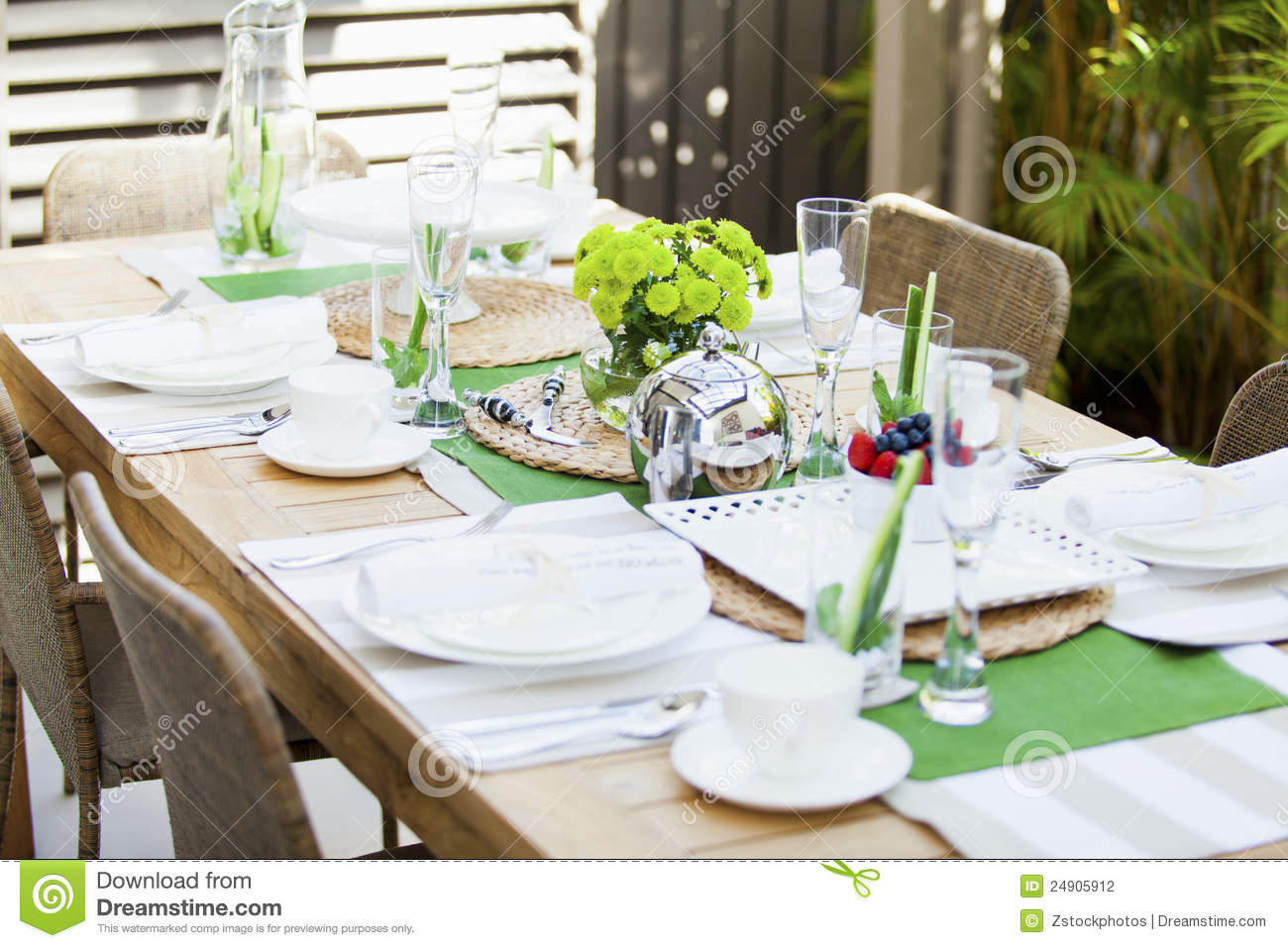 Outdoor Table Setting Stock Photo Image Of Plates Chairs