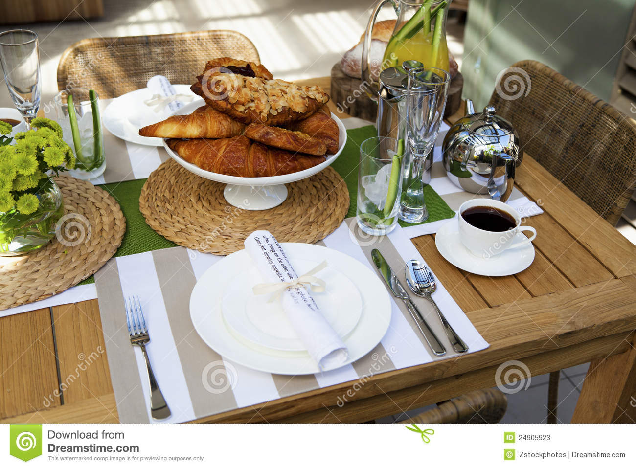 Outdoor Table Setting For Two Stock Image Image 24905923