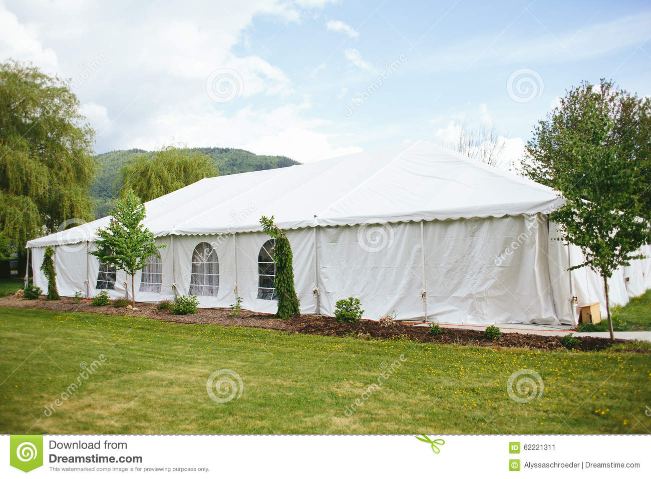 Outdoor Tent Wedding With Mountains Stock Image Image Of
