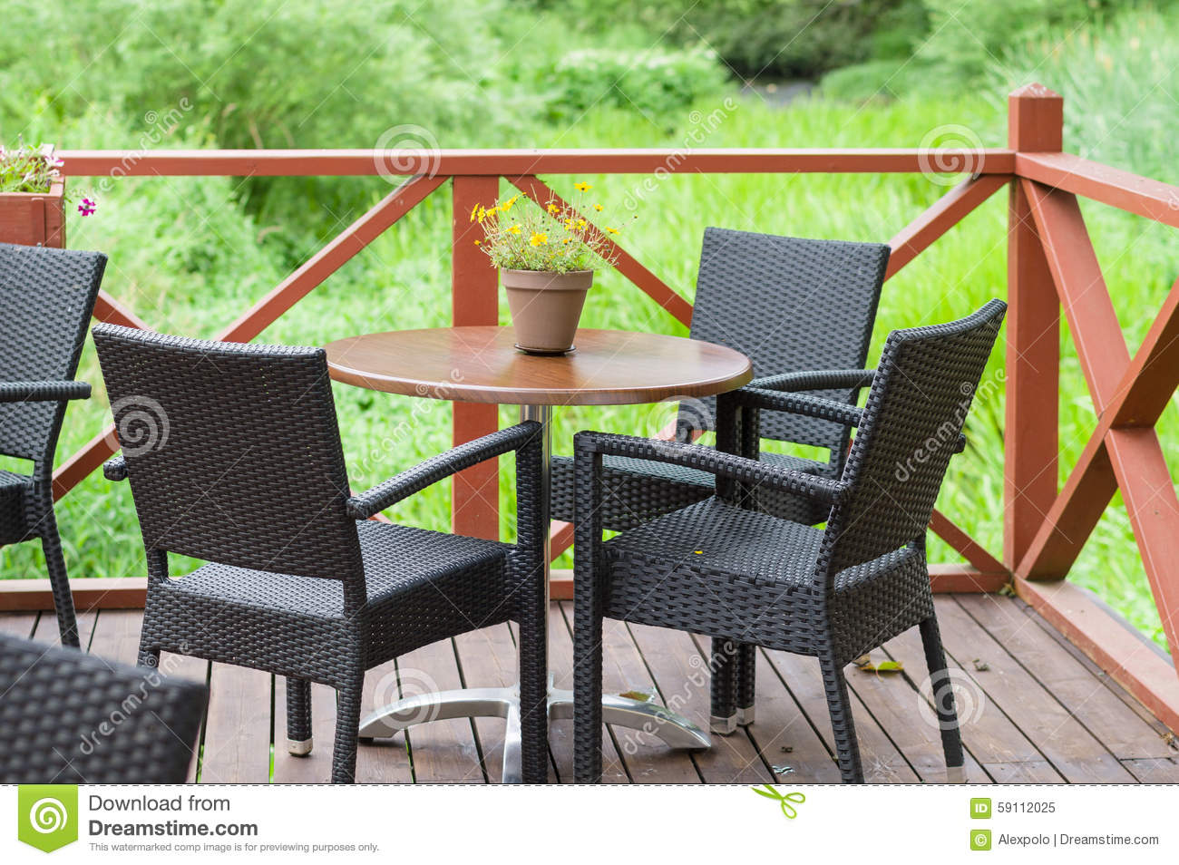 Outdoor Terrace Cafe Table With Three Chairs Stock Image
