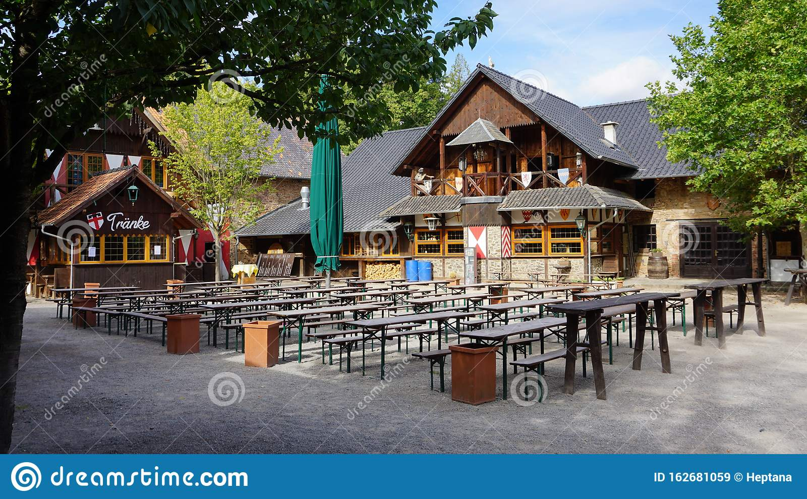 Outdoor Terrace Of Restaurant In The Backyard Of Castle Satzvey Editorial Stock Image Image Of Castle Green 162681059