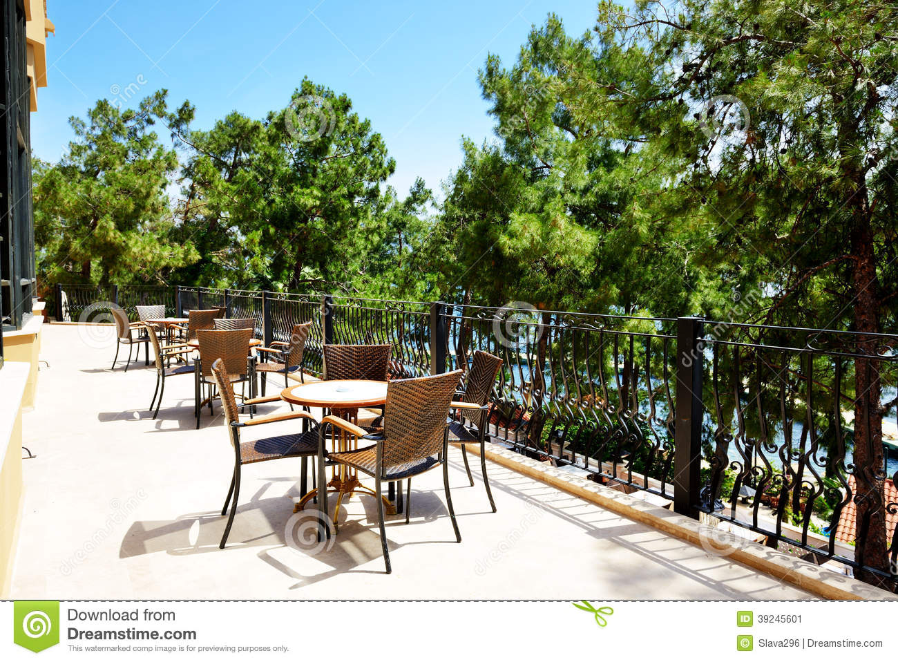 The outdoor terrace of restaurant at luxury hotel stock for The terrace hotel restaurant
