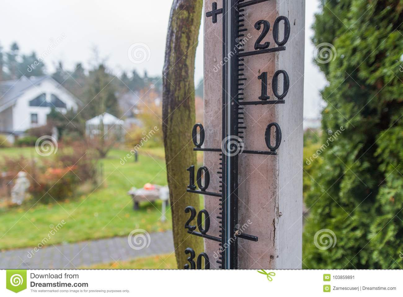 Outdoor Thermometer With Garden Background Stock Image - Image of ...