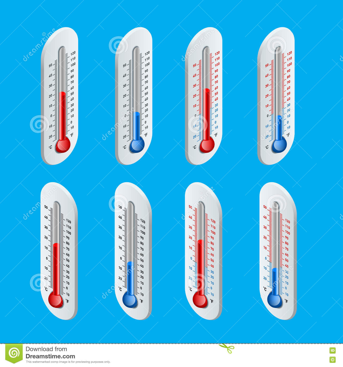 Thermometer Hot And Cold Temperature Vector Illustration