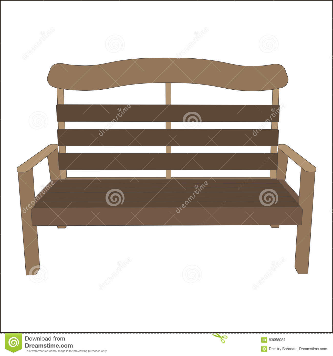 Outdoor Vector Classic Street Urban Bench Wooden Style