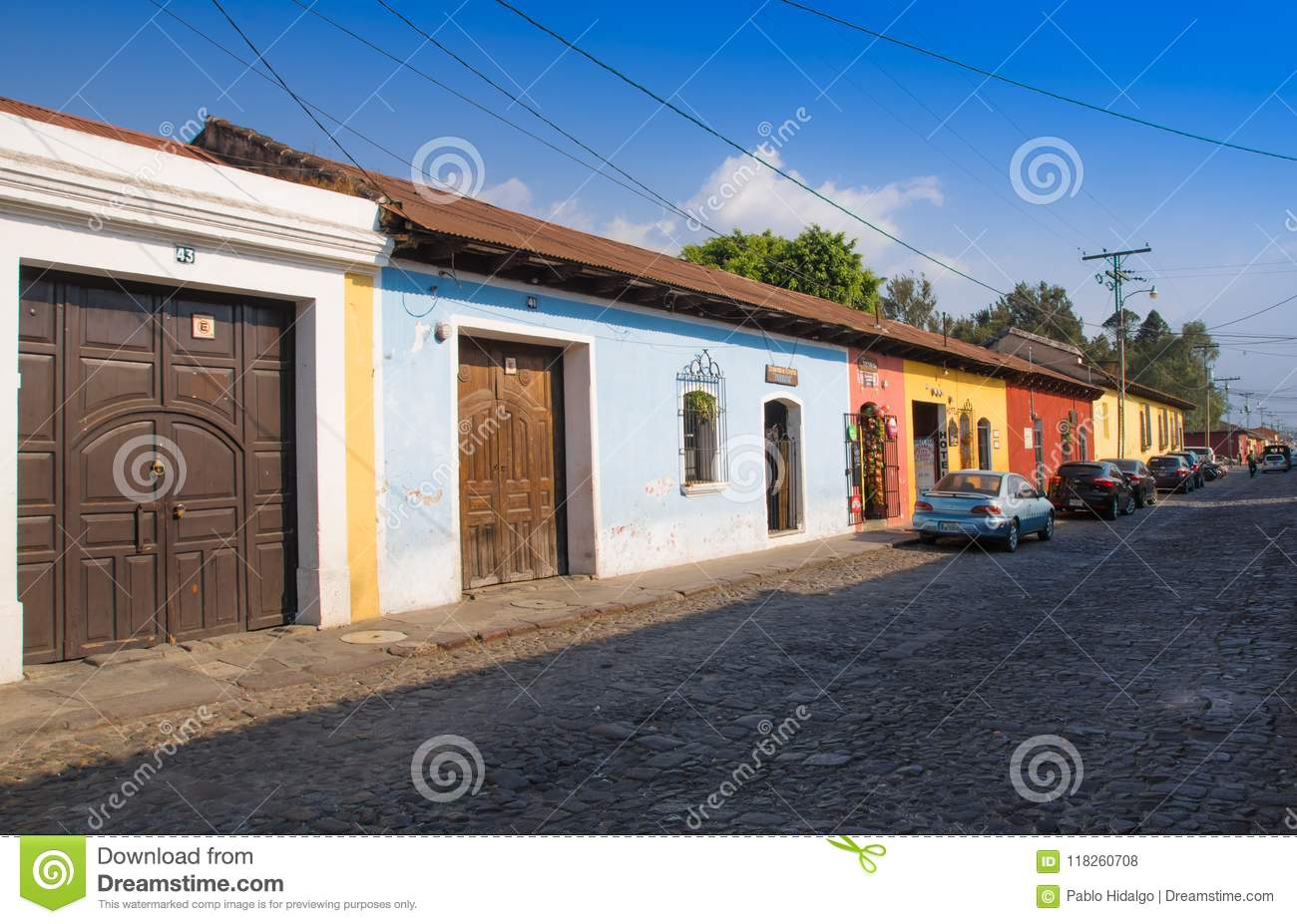 Outdoor view of stoned street with some old building houses and the historic city Antigua is UNESCO World Heritage Site