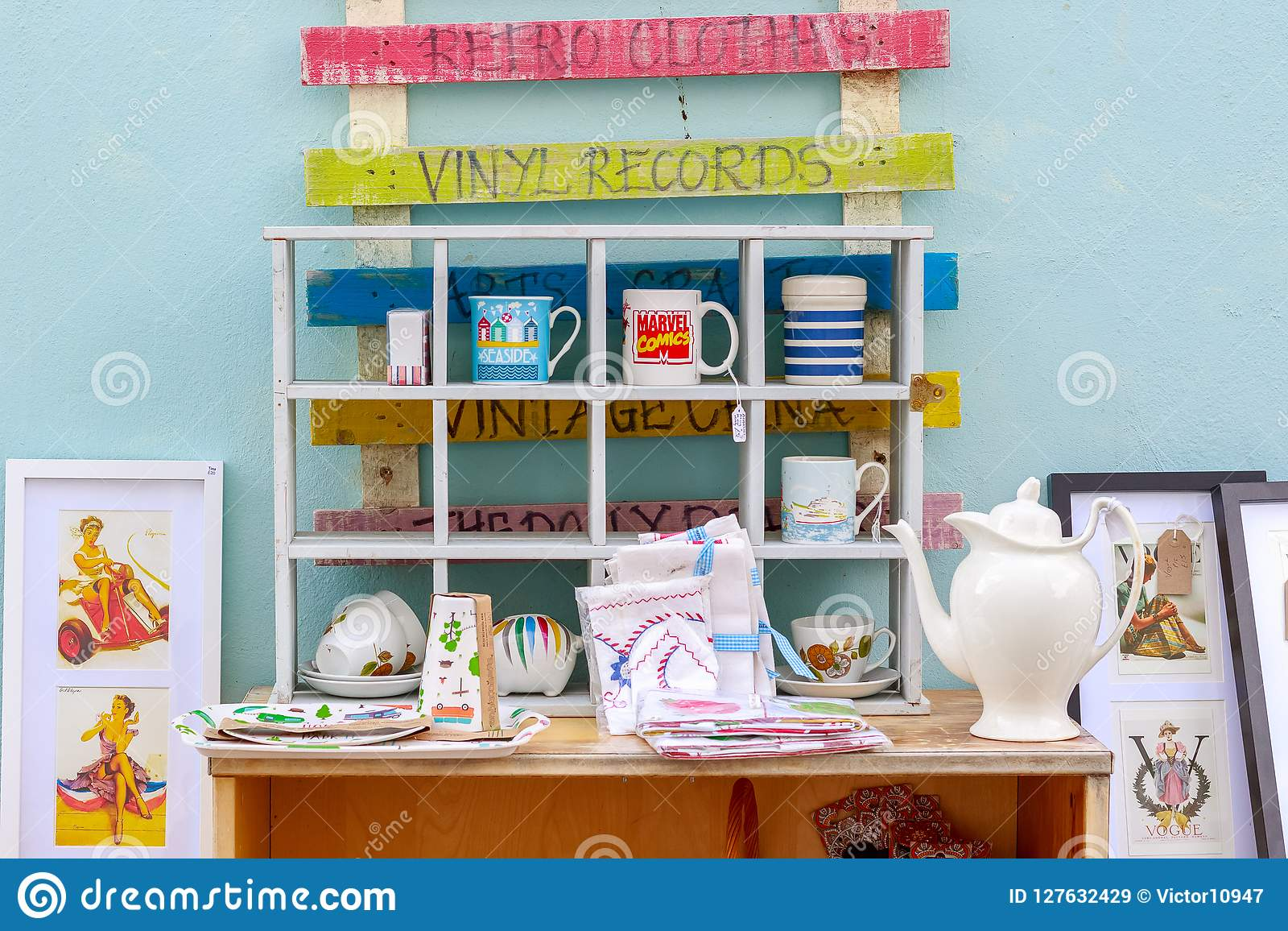 Outdoor vintage shop in Southwold, a popular seaside town in the
