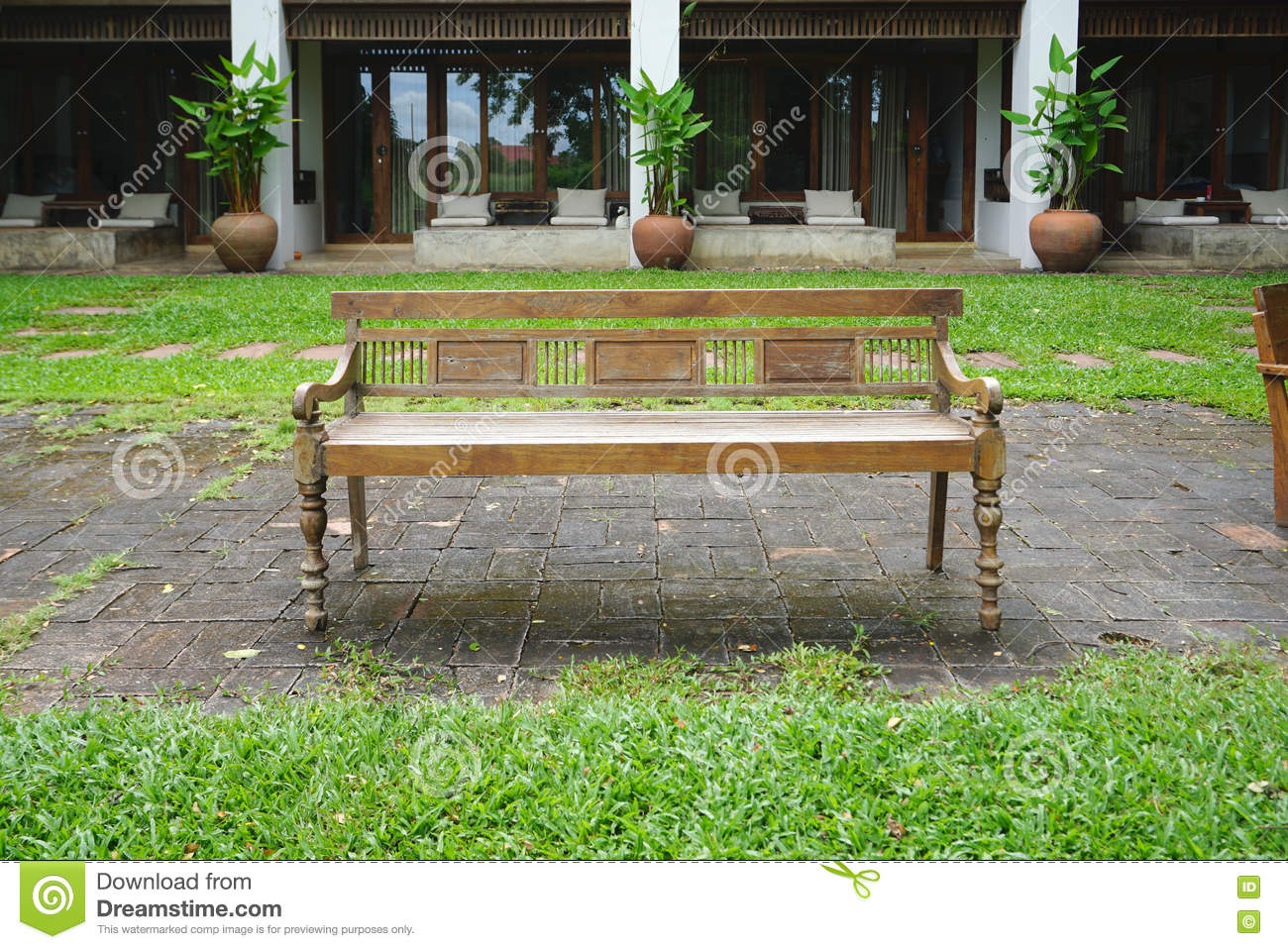 Enjoyable Outdoor Vintage Timber Benches Stock Photo Image Of Chair Short Links Chair Design For Home Short Linksinfo