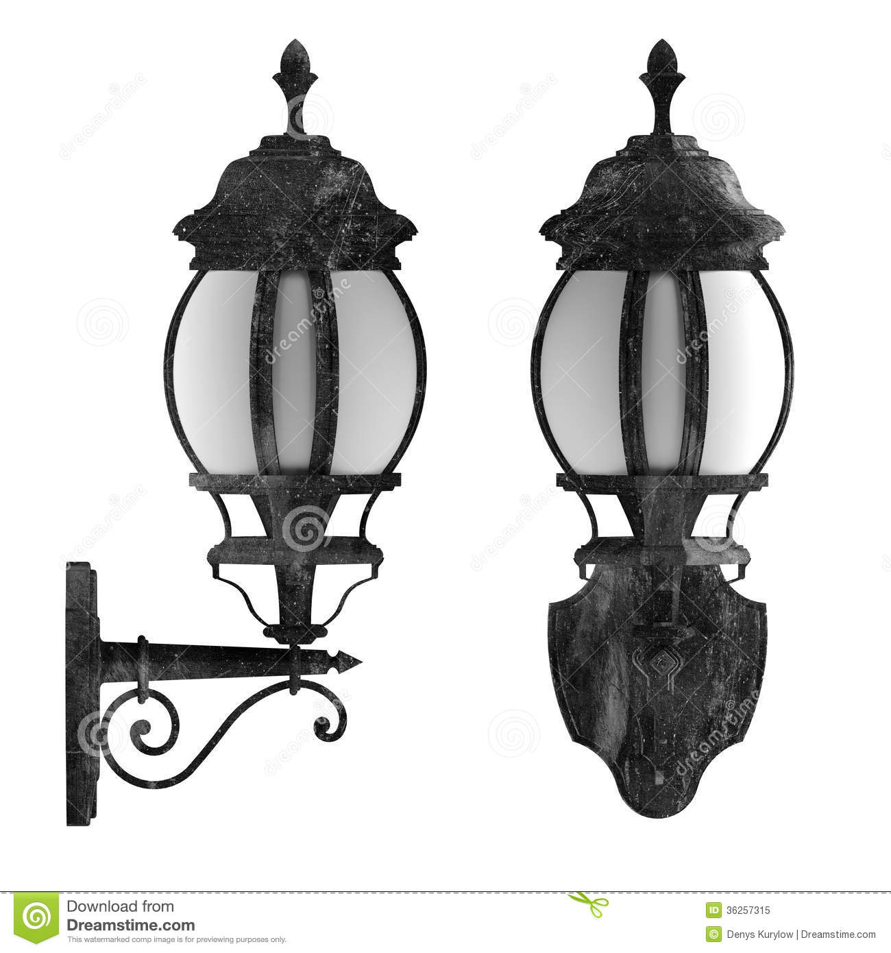 Outdoor Wall Lantern Vintage Lamp Case Isolated Royalty