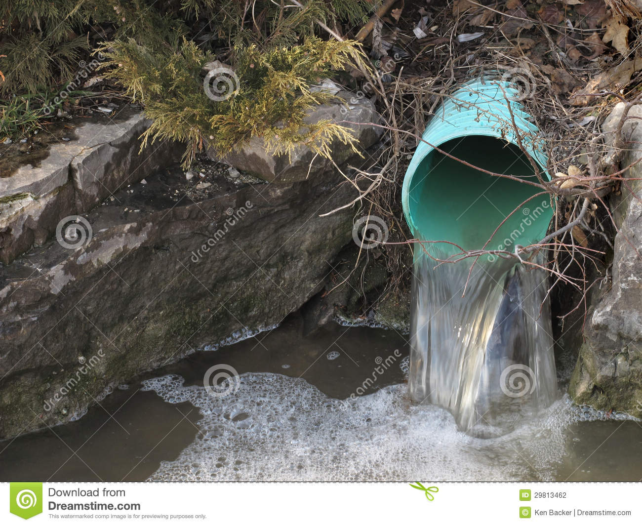 Outdoor water drainage pipe stock photo image of water for Outdoor drain pipe