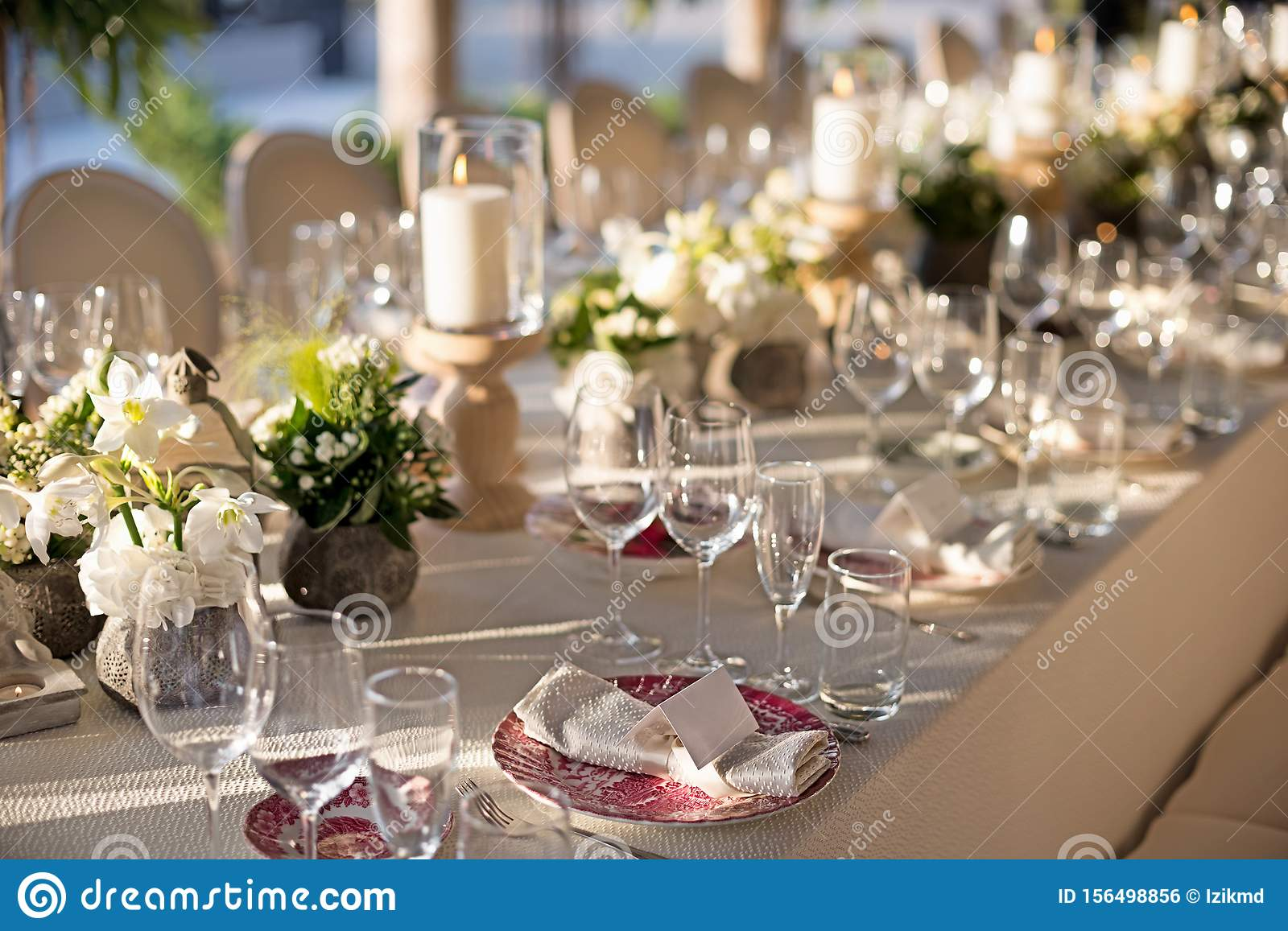 Outdoor Wedding Celebration At A Restaurant Festive Table Setting Catering Wedding In Rustic Style In Summer Stock Photo Image Of Catering Lamp 156498856