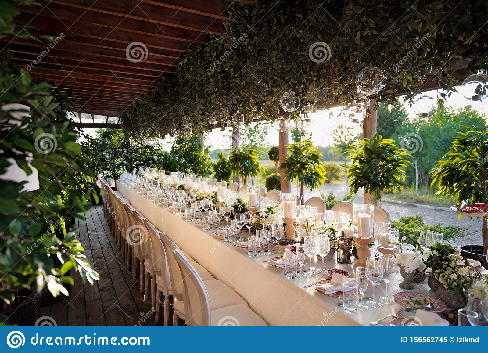 Outdoor Wedding Celebration At A Restaurant Festive Table Setting Catering Wedding In Rustic Style In Summer Stock Image Image Of Lunch Boho 156562745