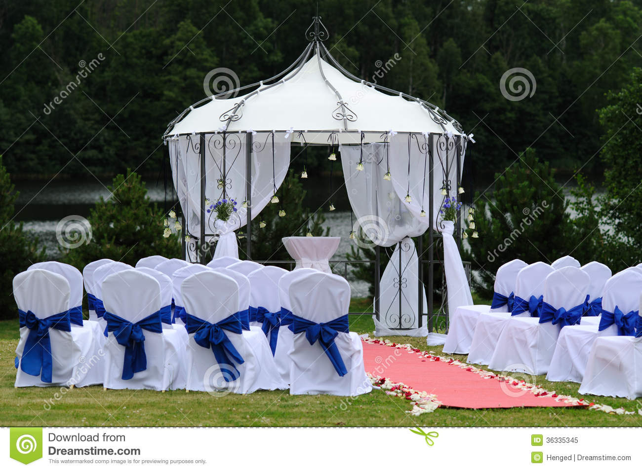 Outdoor Wedding Place With Blue Decoration