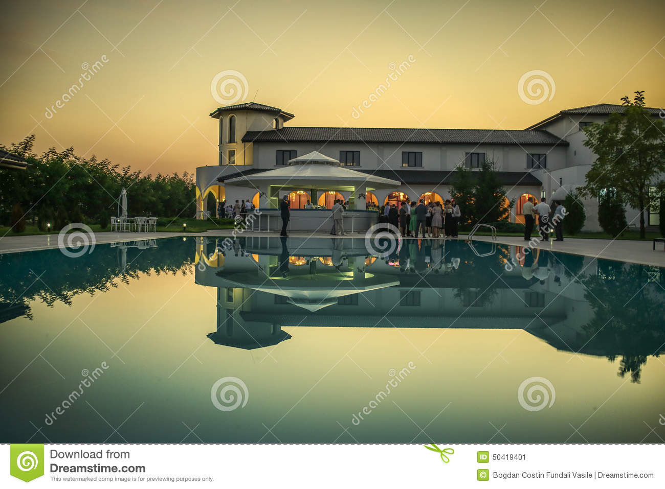 Outdoor Wedding Reception By The Pool Stock Image Image Of