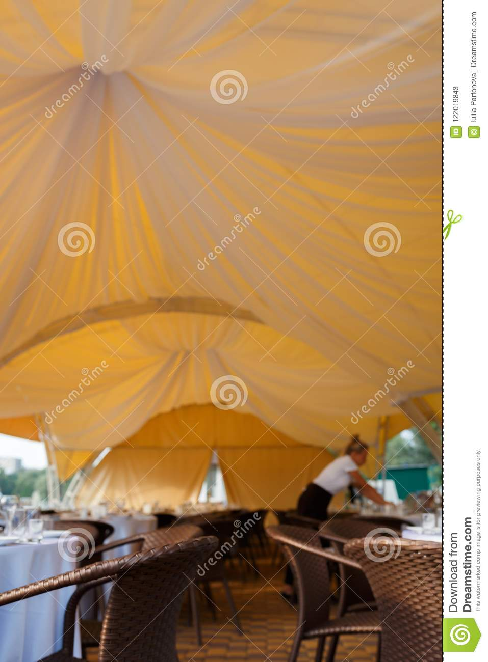 Outdoor Wedding Reception In Tent Stock Image Image Of