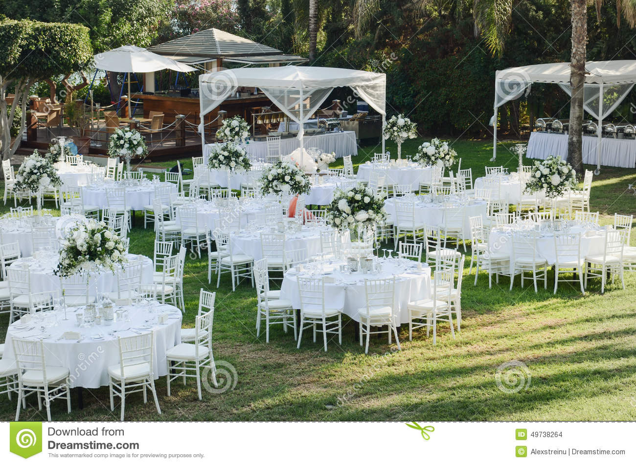 Outdoor Wedding Reception Wedding Decorations Stock Photo Image