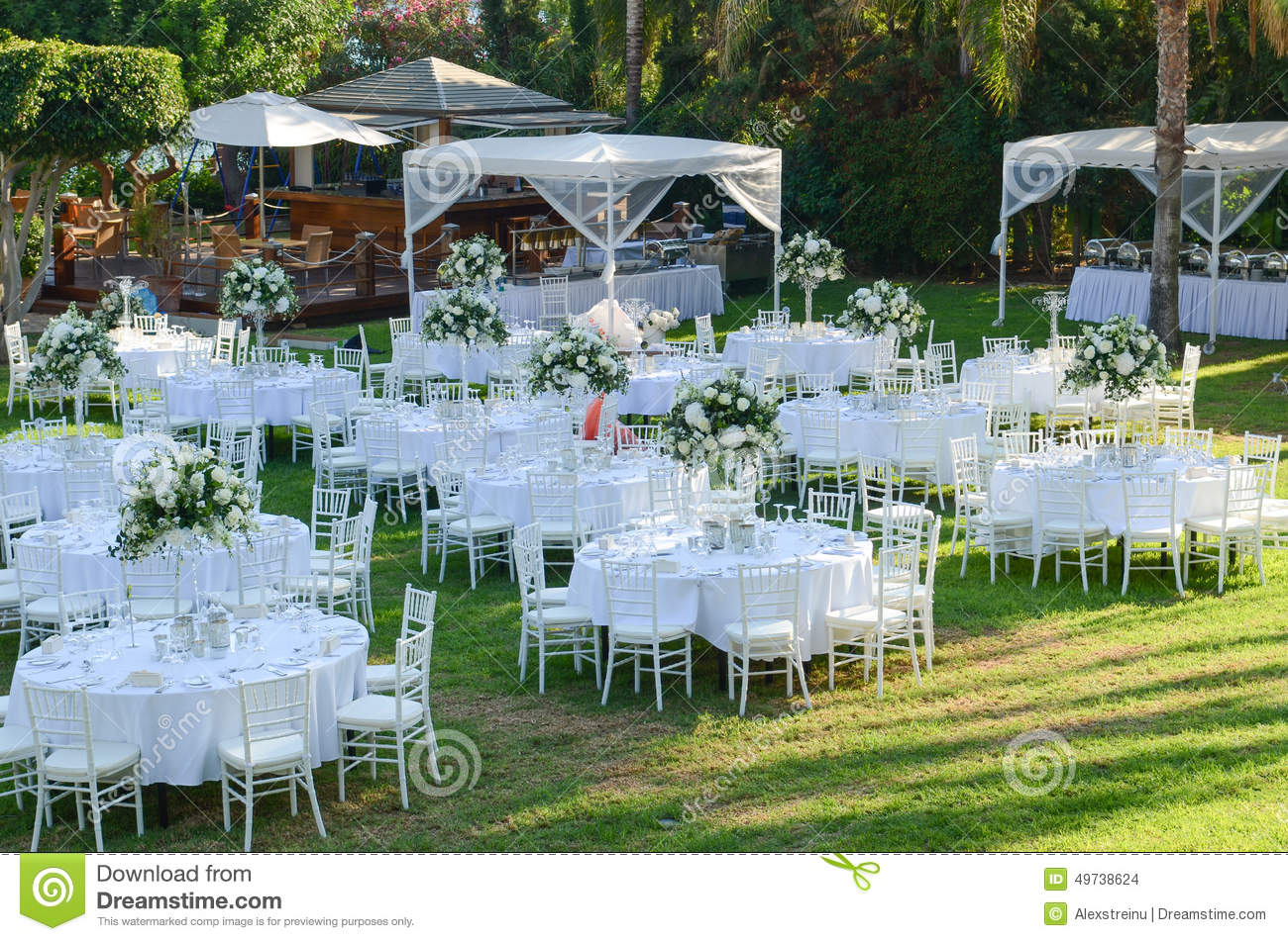 Outdoor Wedding Reception Wedding Decorations Stock Photo 49738624