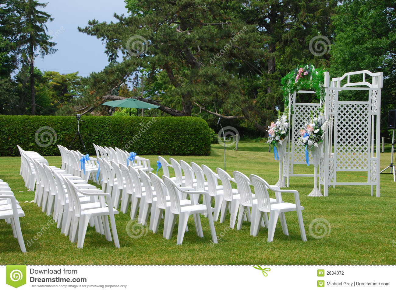 Outdoor Wedding Setup Stock Photo Image Of Lawn Flowers