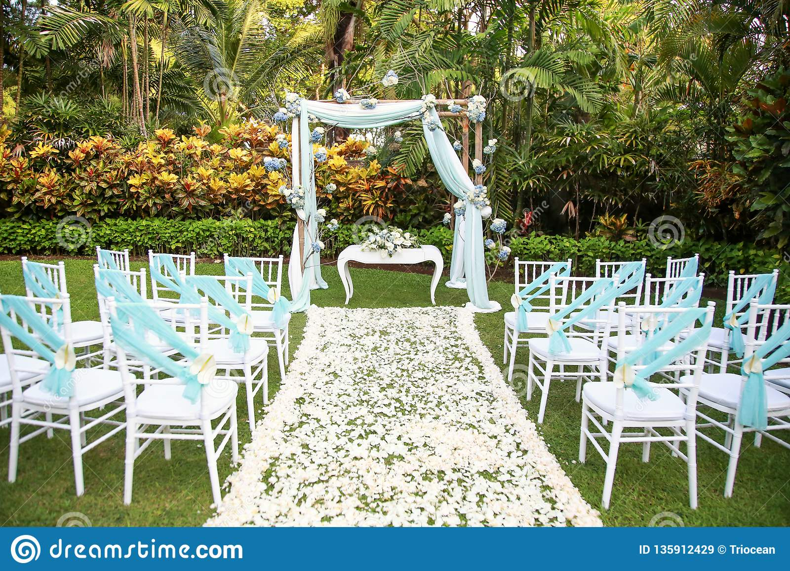 Romantic Outdoor Wedding Setup At The Garden Stock Image