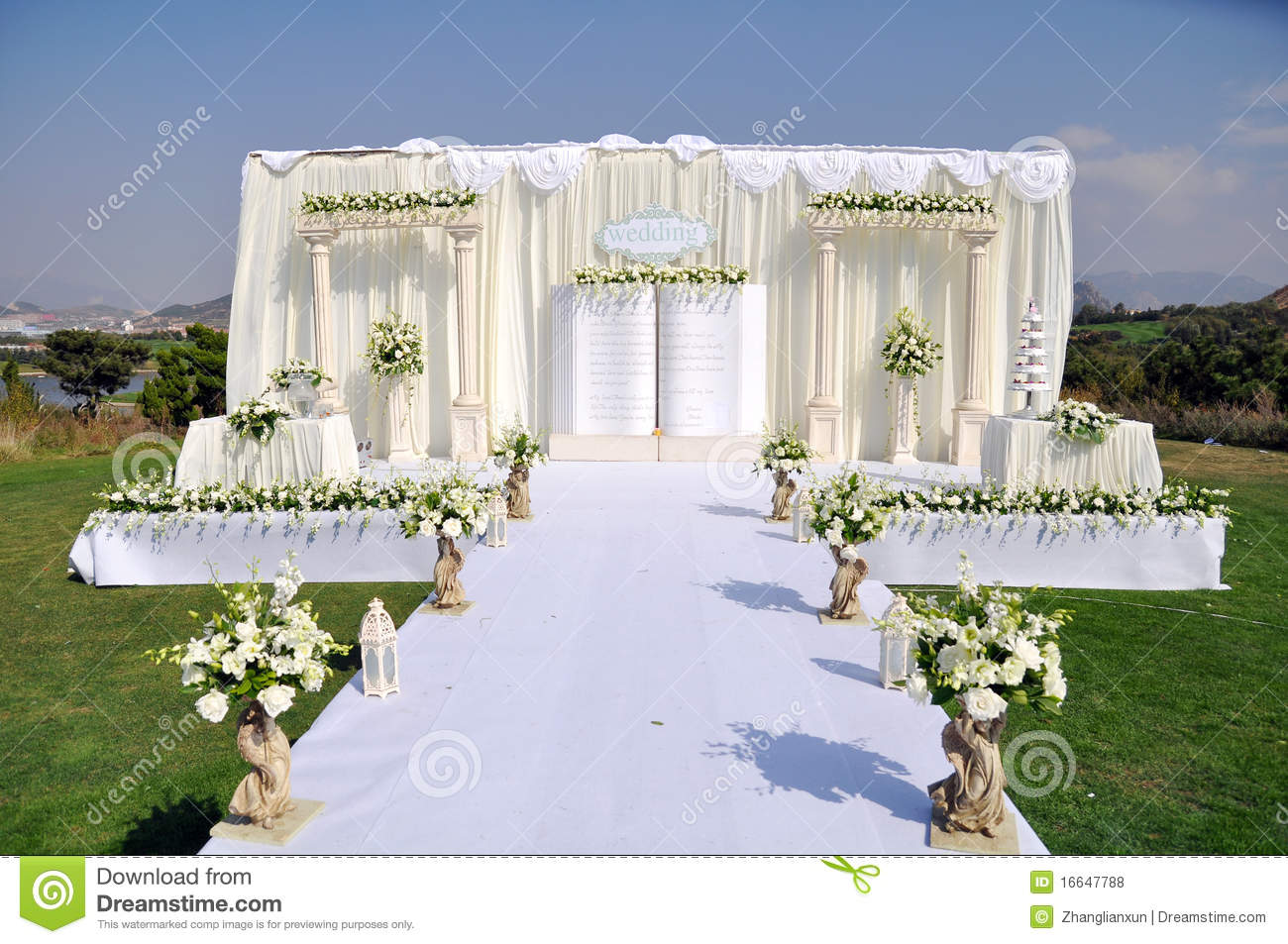 Outdoor wedding stage stock photo image of decoration for Wedding interior decoration images