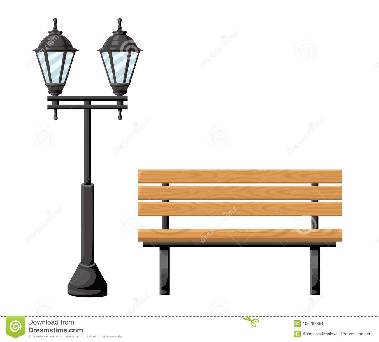 Outdoor wood bench and metal street light front view object for park cottage and yard vector illustration isolated on white backgr