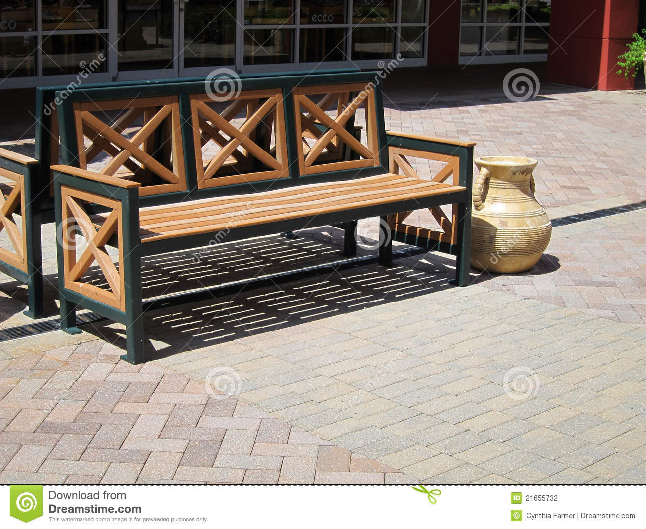 Awe Inspiring Outdoor Wooden Bench Stock Photo Image Of Pavers Outdoor Evergreenethics Interior Chair Design Evergreenethicsorg