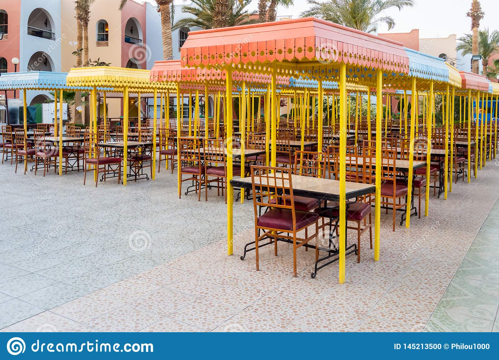 Outdoor Wooden Restaurant Terrace With Tables Stock Photo Image Of Decoration Relaxation 145213500