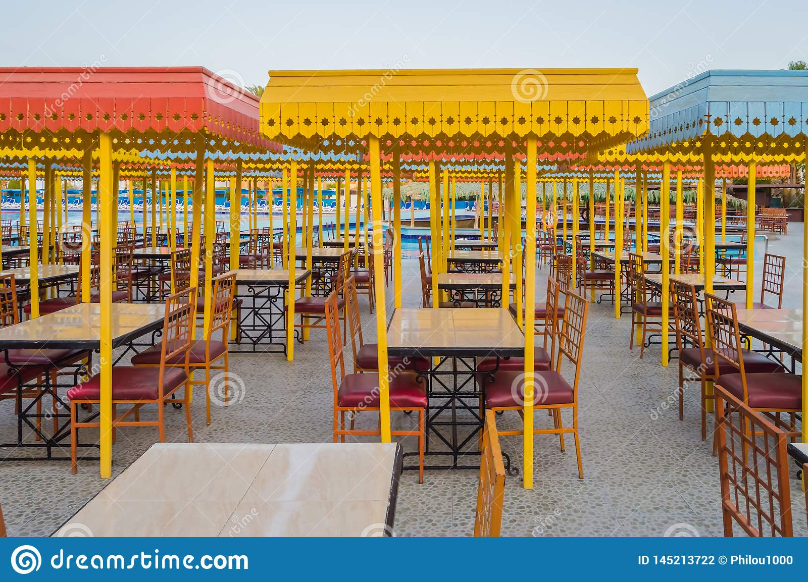 Outdoor Wooden Restaurant Terrace With Tables Stock Photo Image Of Nice Concept 145213722