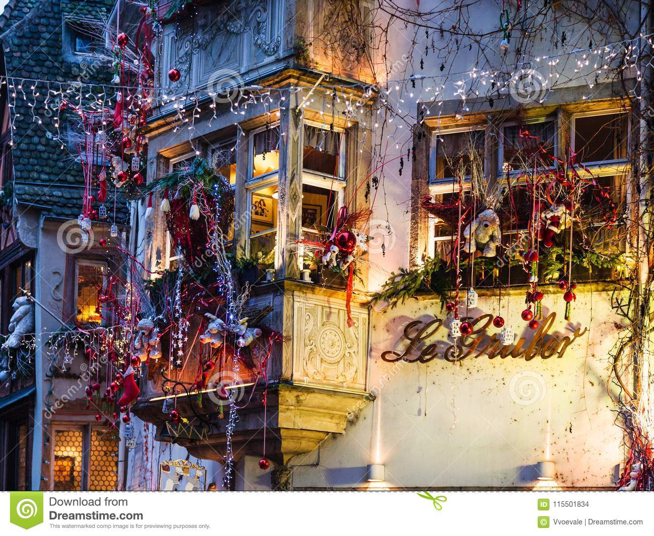 outdoor xmas decoration of house in strasbourg