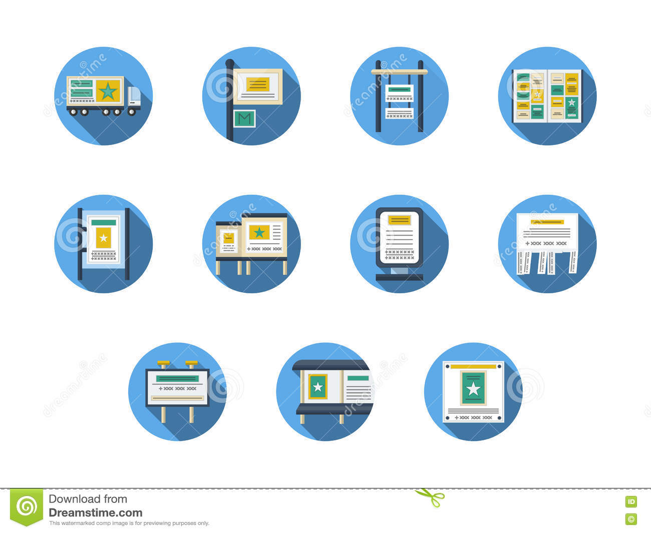 Flat Advertising Icons Vector Illustration | CartoonDealer ...