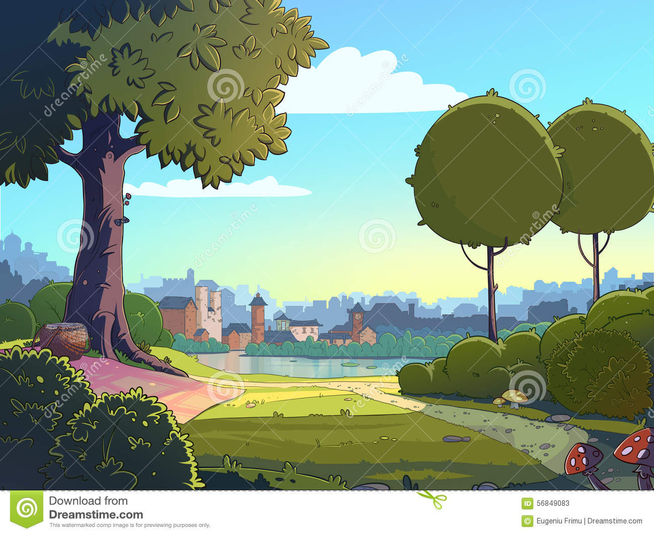 outdoors city park view green glade cartoon landscape background raster colorful illustration near town 56849083