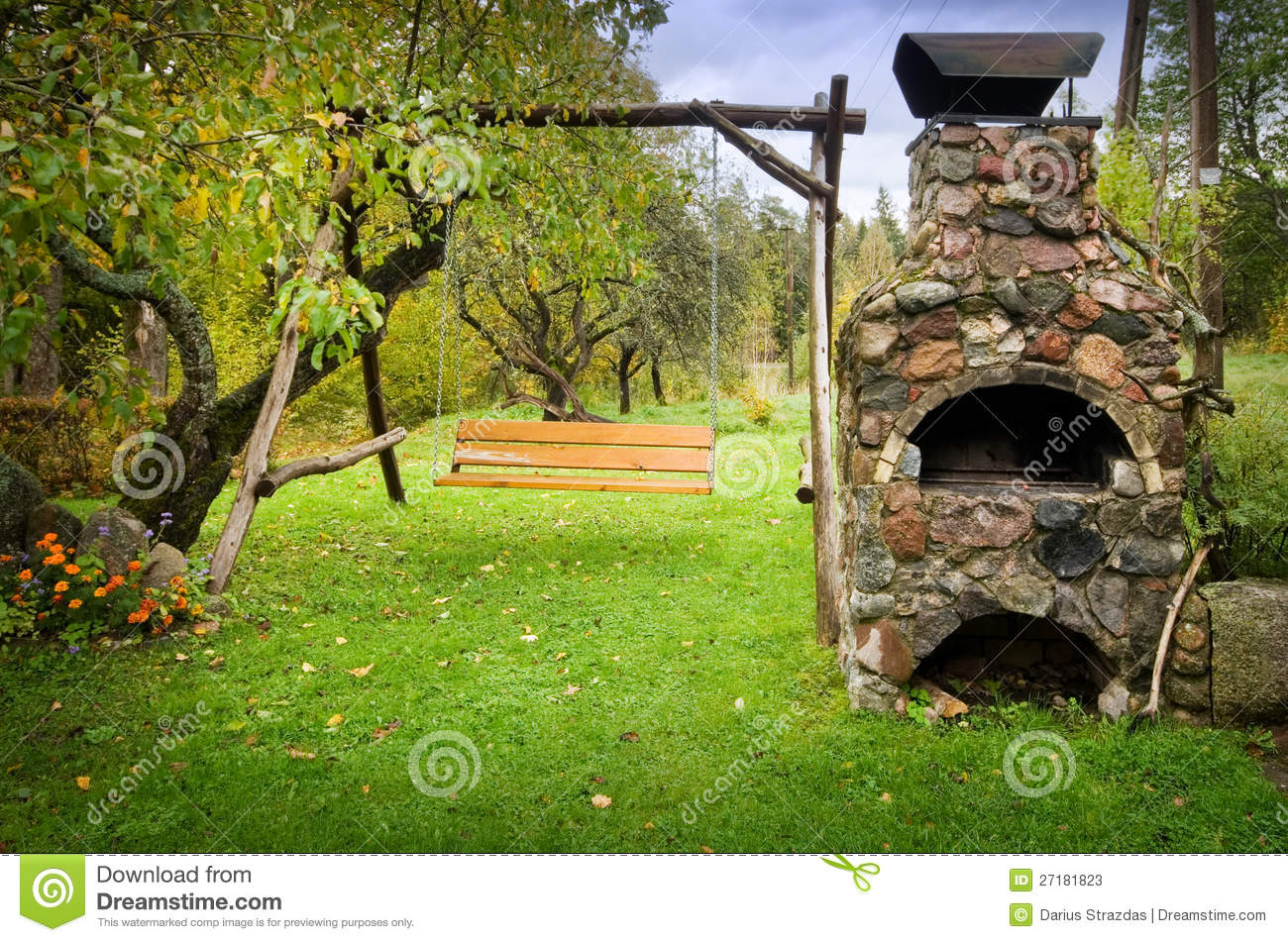 Outdoors fireplace and swing
