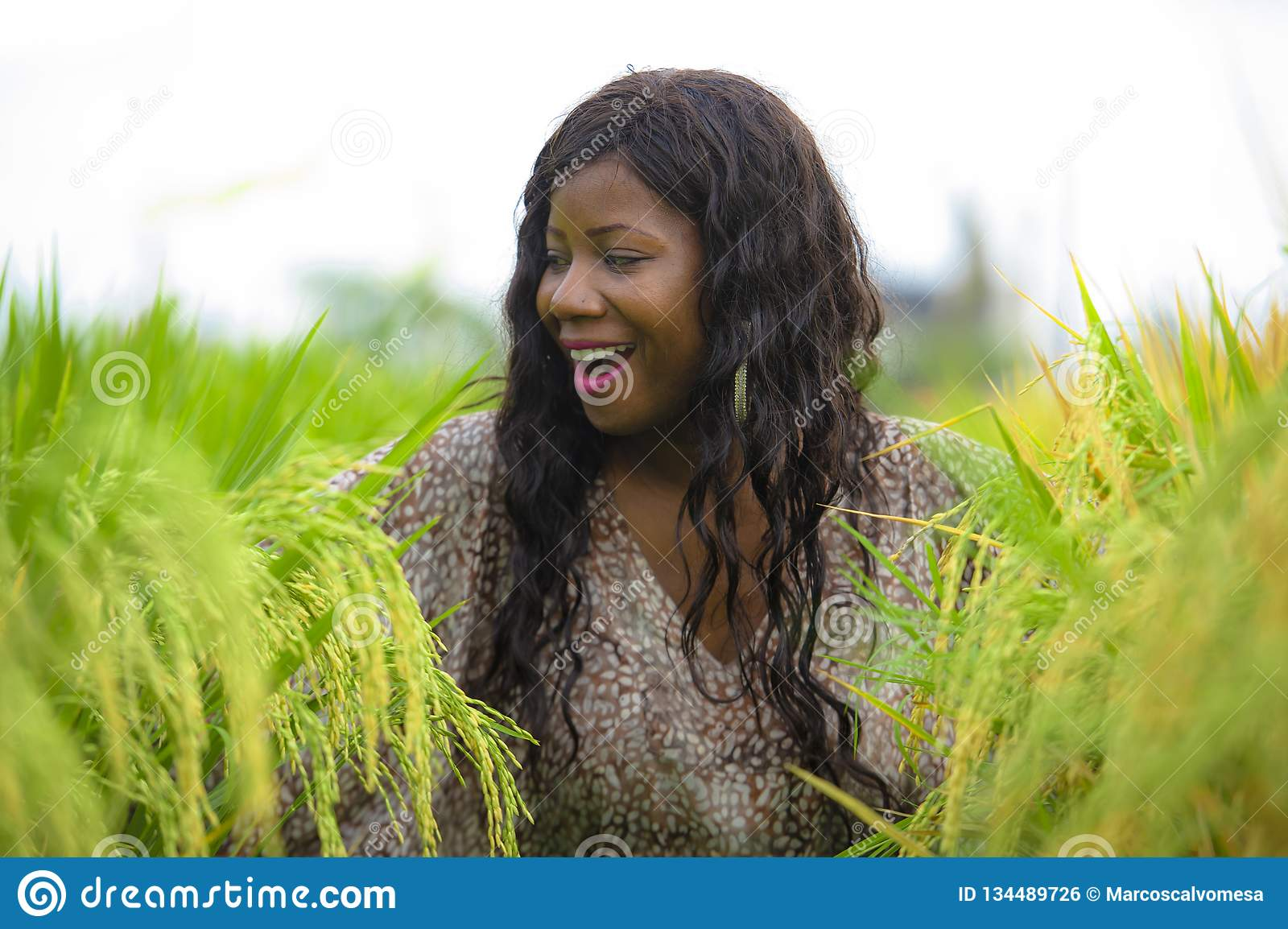 Outdoors fresh portrait of young beautiful and happy black afro American woman in cool dress having fun at tropical rice field