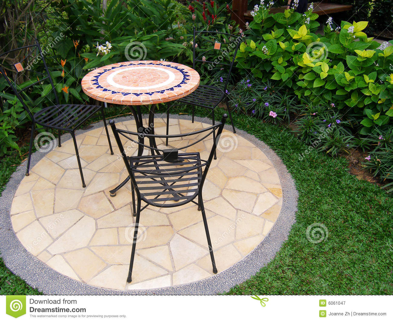 Outdoors patio with furniture