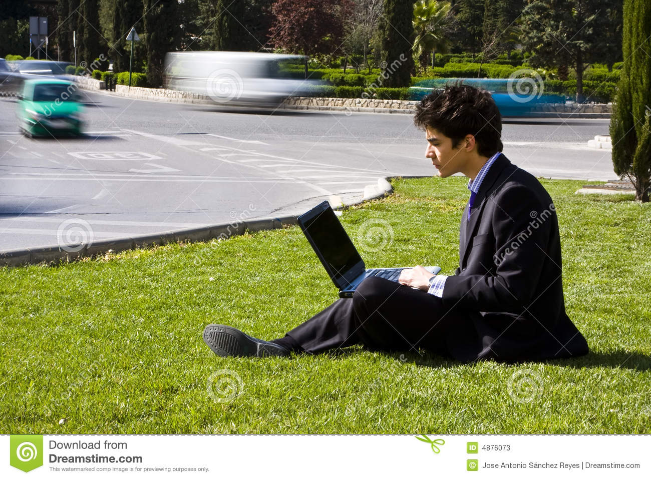 Outdoors working businessman