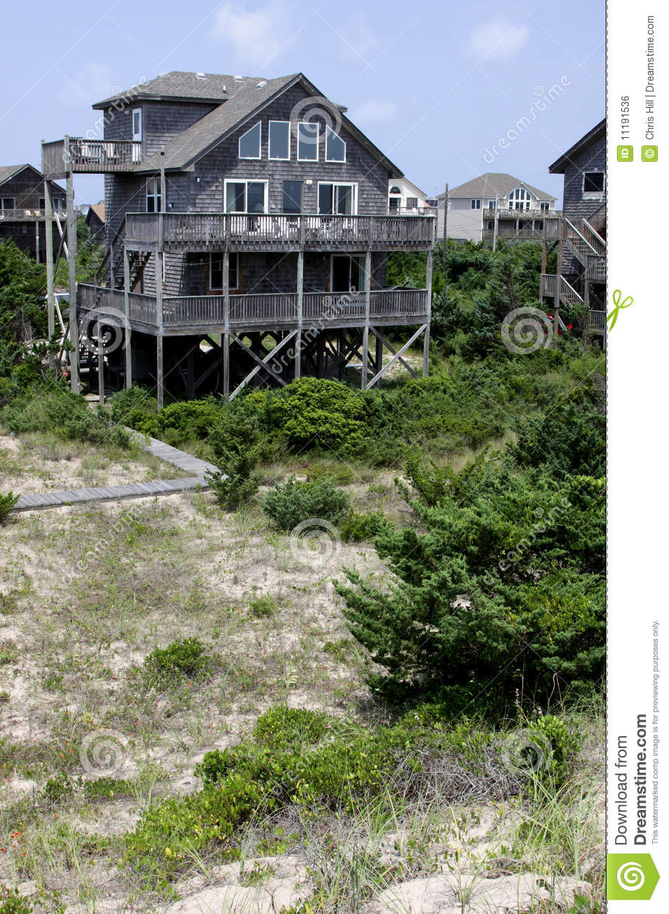 Outer banks beach house stock photo image of north for Beach house plans outer banks
