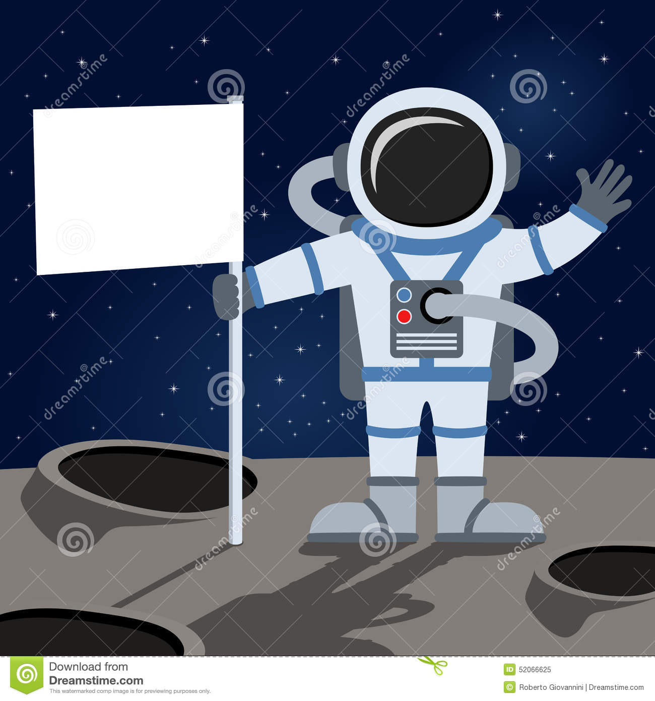 Outer Space Astronaut Holding Flag Stock Vector - Image: 52066625