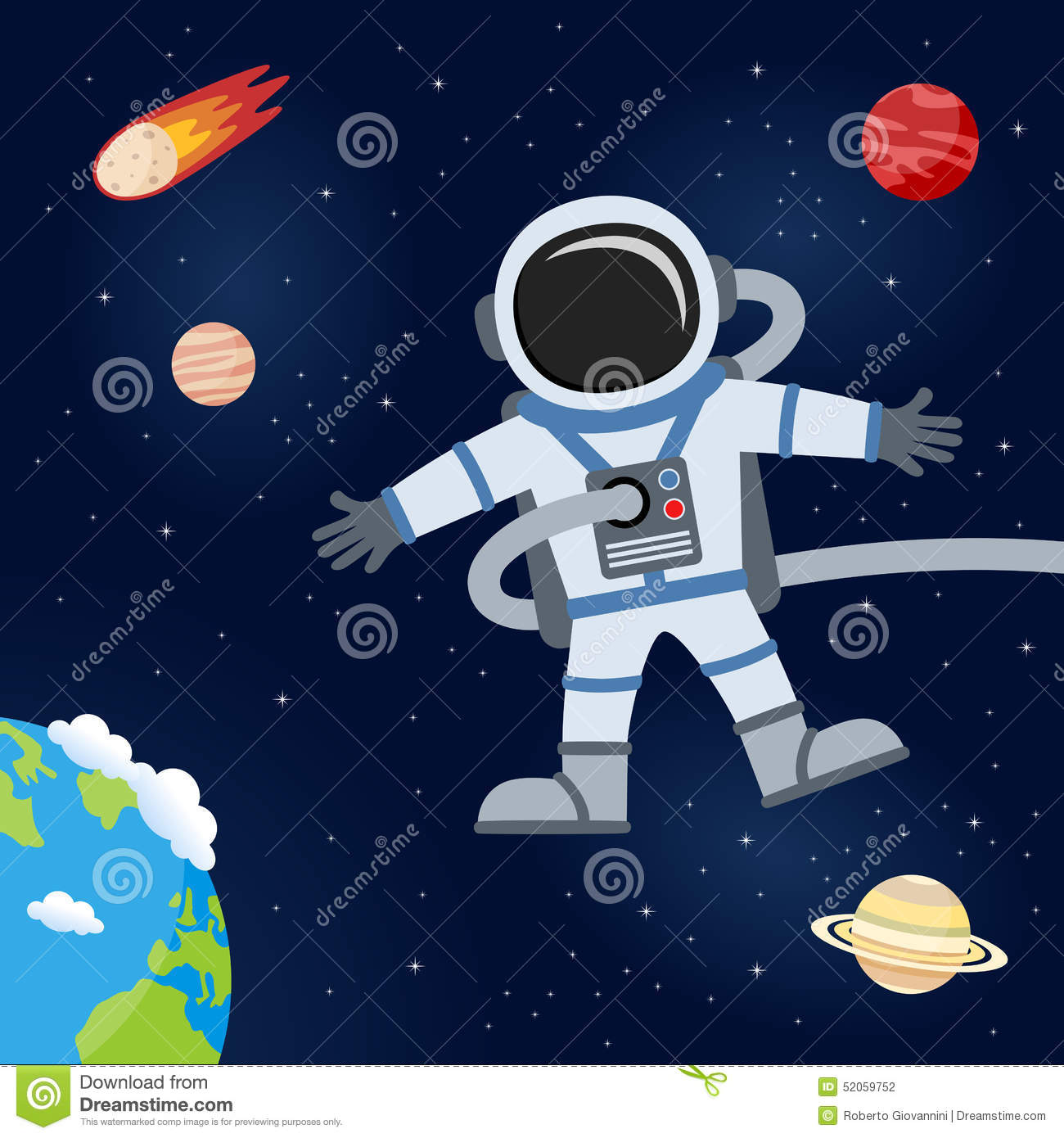 Outer Space With Astronaut & Planets Stock Vector - Image: 52059752