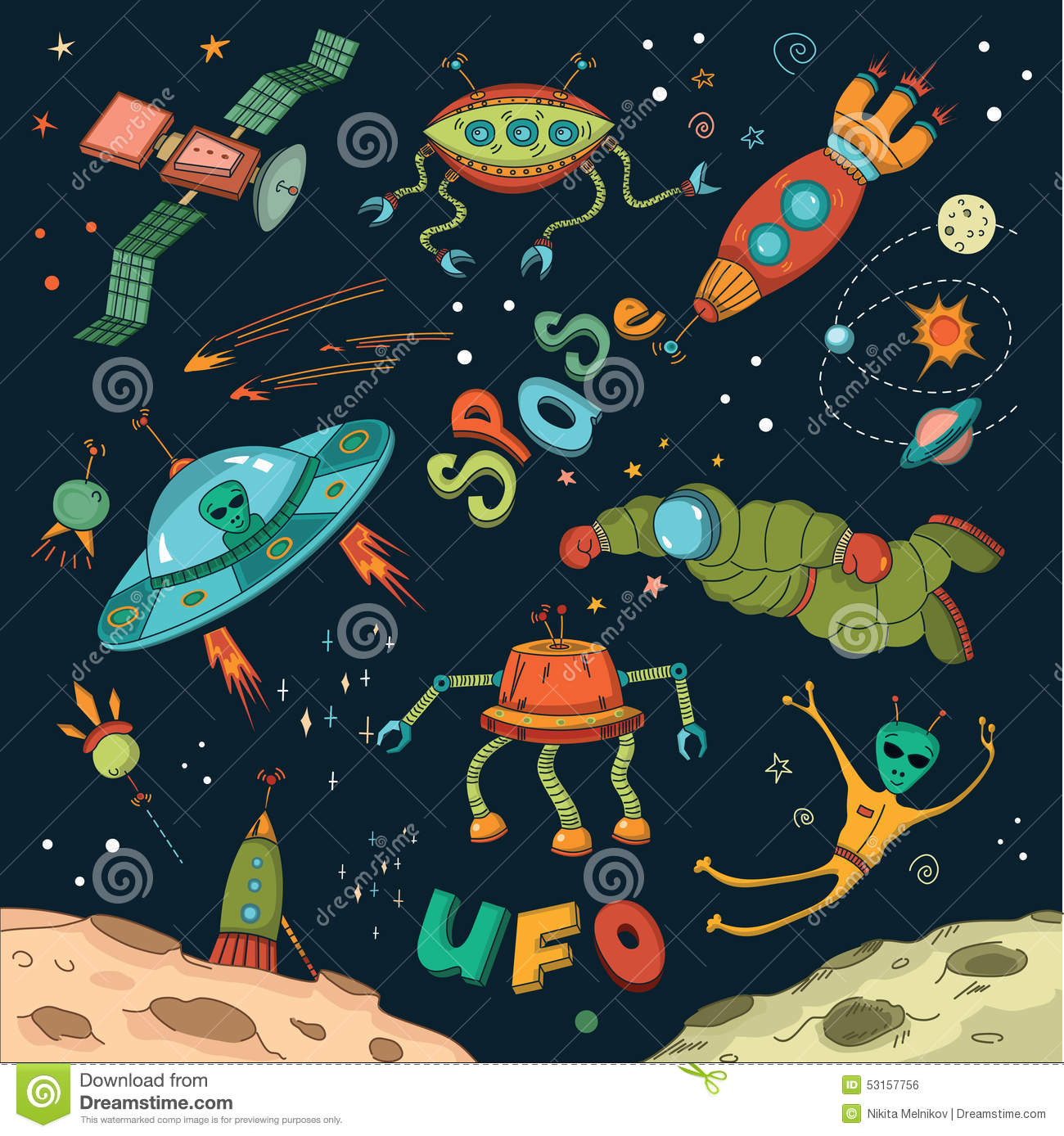 Outer space design elements stock vector image 53157756 for Outer space stage design