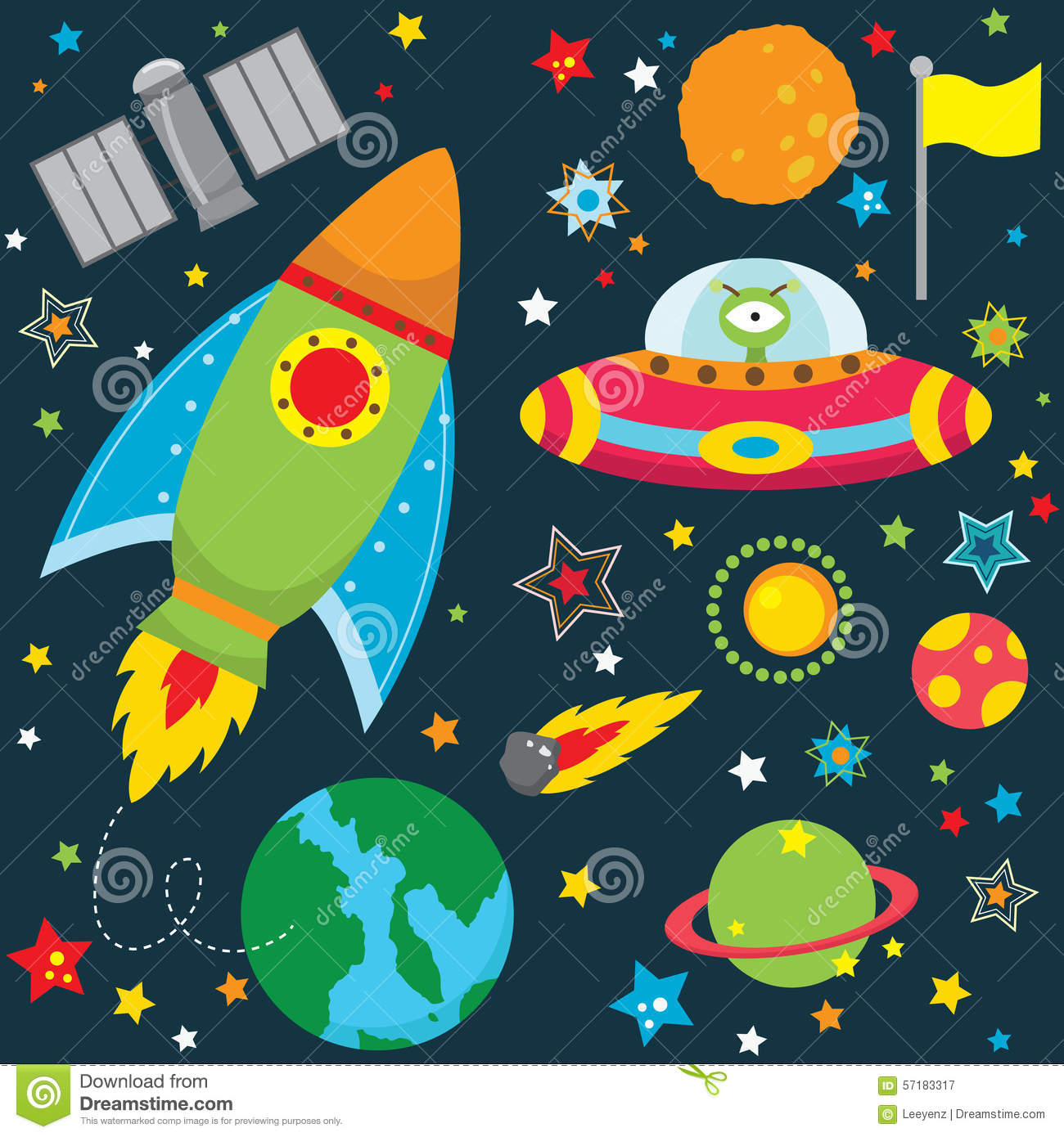 Set of vector elements on the space theme cartoon vector for Outer space architecture