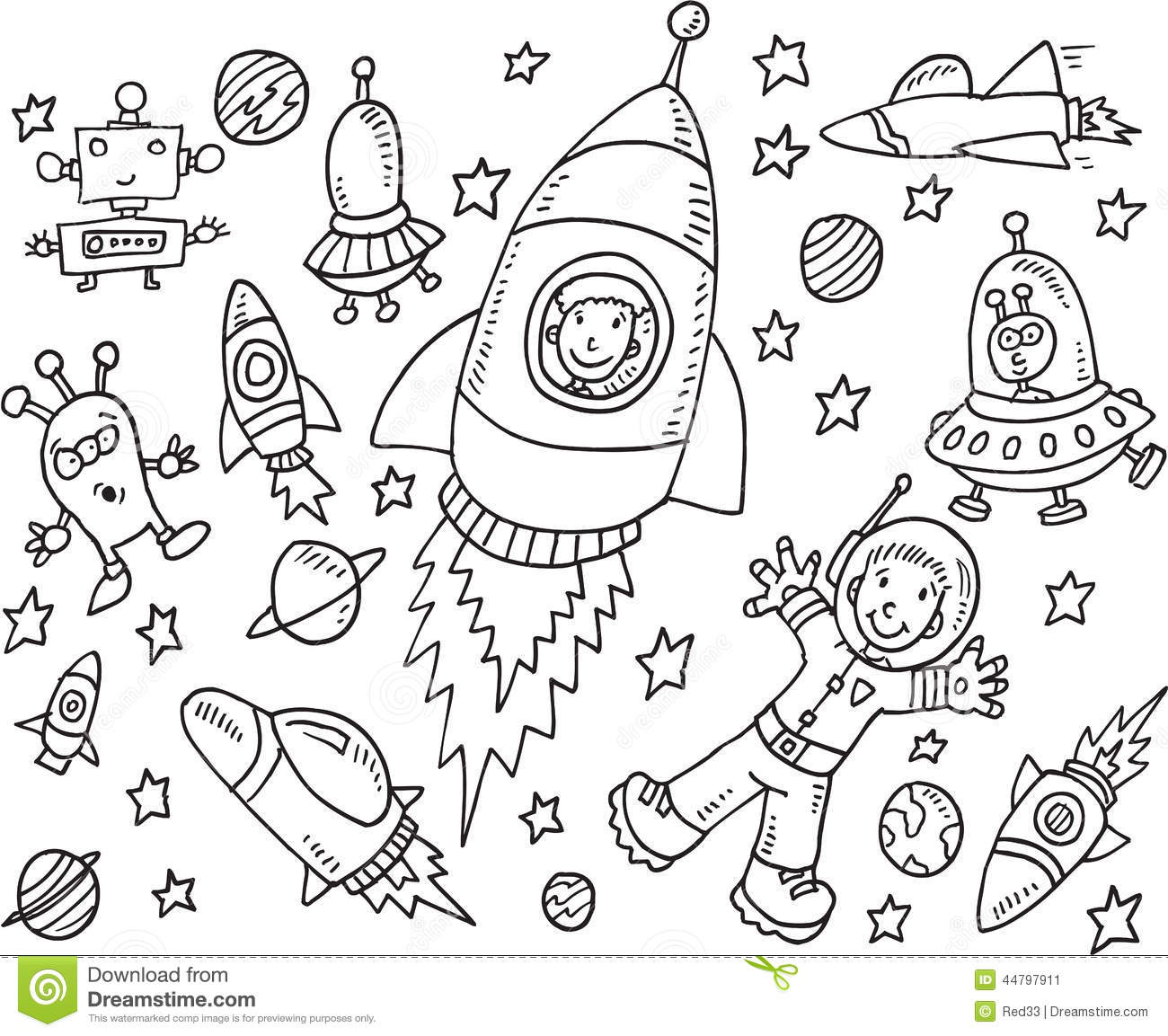 Outer Space Doodle Set Stock Vector Image 44797911
